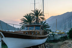 Evening at the marina in the town of Kas Royalty Free Stock Photo
