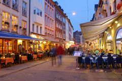 Evening on the Market street in Dusseldorf Royalty Free Stock Photo