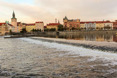 Evening Masaryk embankment,  view from the river Vltava (Prague) Royalty Free Stock Photo