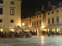 Evening meal in Croatia. Dubrovnik terraces royalty free stock photography