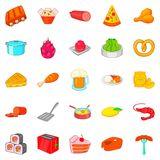 Evening meal icons set, cartoon style. Evening meal icons set. Cartoon set of 25 evening meal vector icons for web isolated on white background Stock Photography