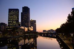Evening in Melbourne CBD Stock Image