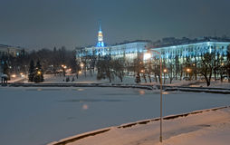 Evening Minsk. (Belarus) in Winter Royalty Free Stock Photos