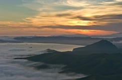 Evening mist over the bay Nakhodka. royalty free stock photos