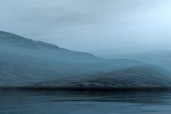 Evening misty landscape stock photo