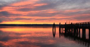 Evening mood at the Ammersee. Sunset at the Ammersee in Bavaria Royalty Free Stock Photo