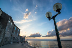 Evening Mood in Croatian Harbor Town Stock Images