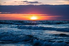Waves at Sunset royalty free stock photo