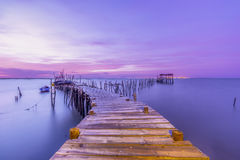 Evening mood over a jetty into the Sado river in Portugal Stock Image