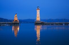 Evening mood at the port of Lindau Royalty Free Stock Photography