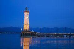 Evening mood at the port of Lindau Stock Photography