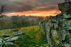 Evening mood in the ruins-3 royalty free stock photography