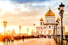 Moscow Russia - September 14, 2017 Evening mood of a sunset on the Patriarchal bridge near Christ the Savior Cathedral. Evening mood of a sunset on the stock images