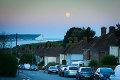 Evening with moon - Newhaven, Sussex stock photo