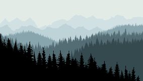 Evening or morning forest of coniferous spruce trees at dusk. On the horizon you can see mountains. Calm background, template for design. 10 eps vector illustration