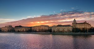 Evening Moscow / Beautiful sunset over Moscow river. Evening Moscow / beautiful sunset over the Moscow river. Pink clouds over the capital of Russia Stock Images
