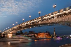 Patriarshy bridge in Moscow. Evening Moscow cityscape and view of beautiful bridge stock photos