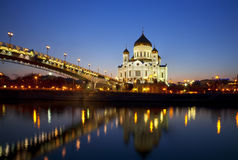 Evening Moscow and Moscow Orthodox Church on sunset Stock Photography