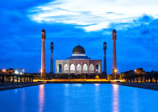 After evening in the mosque. The wonderful amazing mosque with the beautiful indigo sky Royalty Free Stock Image
