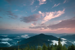 Evening mountain landscape. Evening cloudy mountain landscape after sunset Stock Image