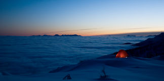 Evening in mountains. Photo was taken just after the sunset while winter camping in Julian Alps, Slovenia royalty free stock photos