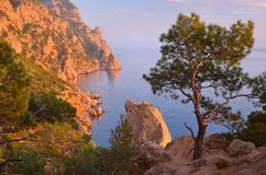 Evening in the mountains near the sea Stock Image