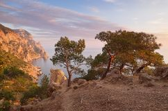 Evening in the mountains near the sea Royalty Free Stock Images