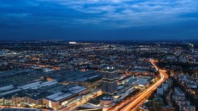 Evening Munich birds eye panoramic cityscape view with BMW plant and headquarters Stock Photography