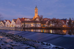 Evening in Nürtingen. City Center of Nuertingen over the Neckar River in the evingen Royalty Free Stock Image