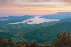 Evening nad zatoką Kotor Montenegro Fotografia Stock