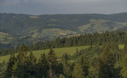 Evening in national park Pieniny with sunny shine over green meadows. And blue sky over heads royalty free stock image