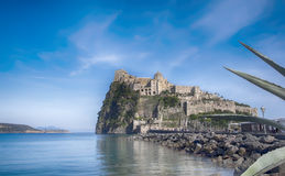 Evening near Aragonese Castle , island Ischia , Italy. Panorama of Aragonese Castle , island Ischia , Italy Royalty Free Stock Photo