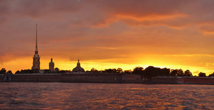 Evening at the Neva river in Saint Petersburg, Rus Stock Photography