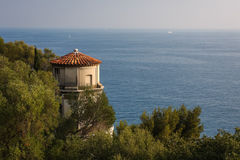 Evening in Nice. Elevator leading to the hill, as seen in the evening, Nice, France Stock Image