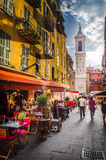 Pretty Scene in Nice, France. Street scene in Old Nice on a May night royalty free stock images