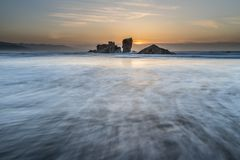 The coasts and beaches of Galicia and Asturias. Evening and night on the coasts and beaches of Galicia and Asturias where you discover the beauty of nature stock photography