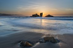 The coasts and beaches of Galicia and Asturias. Evening and night on the coasts and beaches of Galicia and Asturias where you discover the beauty of nature royalty free stock images