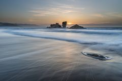 The coasts and beaches of Galicia and Asturias. Evening and night on the coasts and beaches of Galicia and Asturias where you discover the beauty of nature stock image