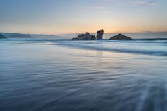 The coasts and beaches of Galicia and Asturias. Evening and night on the coasts and beaches of Galicia and Asturias where you discover the beauty of nature royalty free stock photo