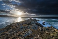 The coasts and beaches of Galicia and Asturias. Evening and night on the coasts and beaches of Galicia and Asturias where you discover the beauty of nature stock images