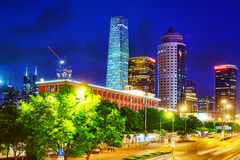 Evening, night modern Beijing. BEIJING, CHINA - MAY 20, 2015:Evening, night modern Beijing business quarter of the capital, the streets of the city with stock image