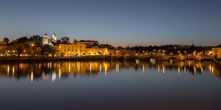 Evening Night panorama of the city of Tavira. Royalty Free Stock Photos