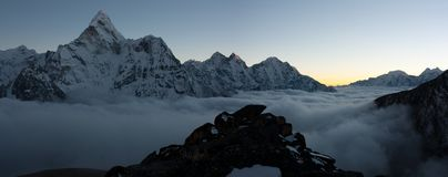 Evening or night view of Ama Dablam. Trek to Everest Base Camp - Nepal Royalty Free Stock Photography