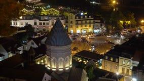 Evening Night View Of Historic District Abanotubani. Vakhtang Gorgasali Square, Tbilisi. Georgia stock video footage