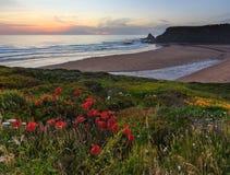 Evening ocean Odeceixe beach Algarve, Portugal. Royalty Free Stock Photos