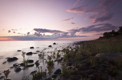 Evening ocean scene. Wide angle photo Stock Image