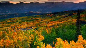 Evening At Ohio Pass. The castles area of the West Rlk Mountains shows the last light of sunset above the incredible Fall Aspen of Ohio Pass, Colorado Royalty Free Stock Image