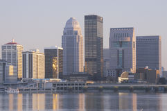 Evening on Ohio River and Louisville skyline, KY shot from Indiana stock photo