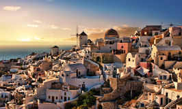 Evening in Oia Santorini. Beautiful evening dusk in Oia village Santorini island Greece Royalty Free Stock Images