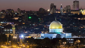 Evening in Old City, Temple Mount with Dome of the Rock timelapse view from the Mt of Olives in Jerusalem stock video